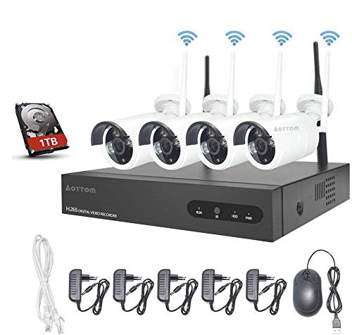 Kit Videosorveglianza WiFi Aottom1080P 8CH NVR +4PCS...