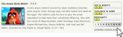 La scheda di Angry Birds su kidsinmind.com