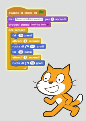 Scratch è un semplice ambiente di programmazione, gratuito, che utilizza un linguaggio di programmazione di tipo grafico e visuale, a blocchi.