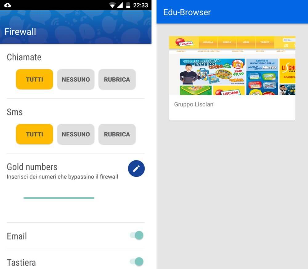Mio Phone 5'' di Lisciani, Firewall e Edu-Browser