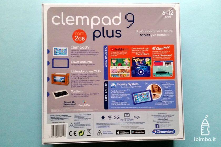 Clempad 9: retro della scatola Clempad plus